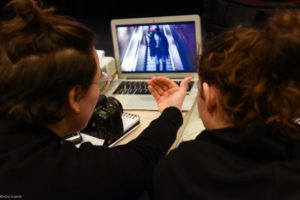 young women directing editing film
